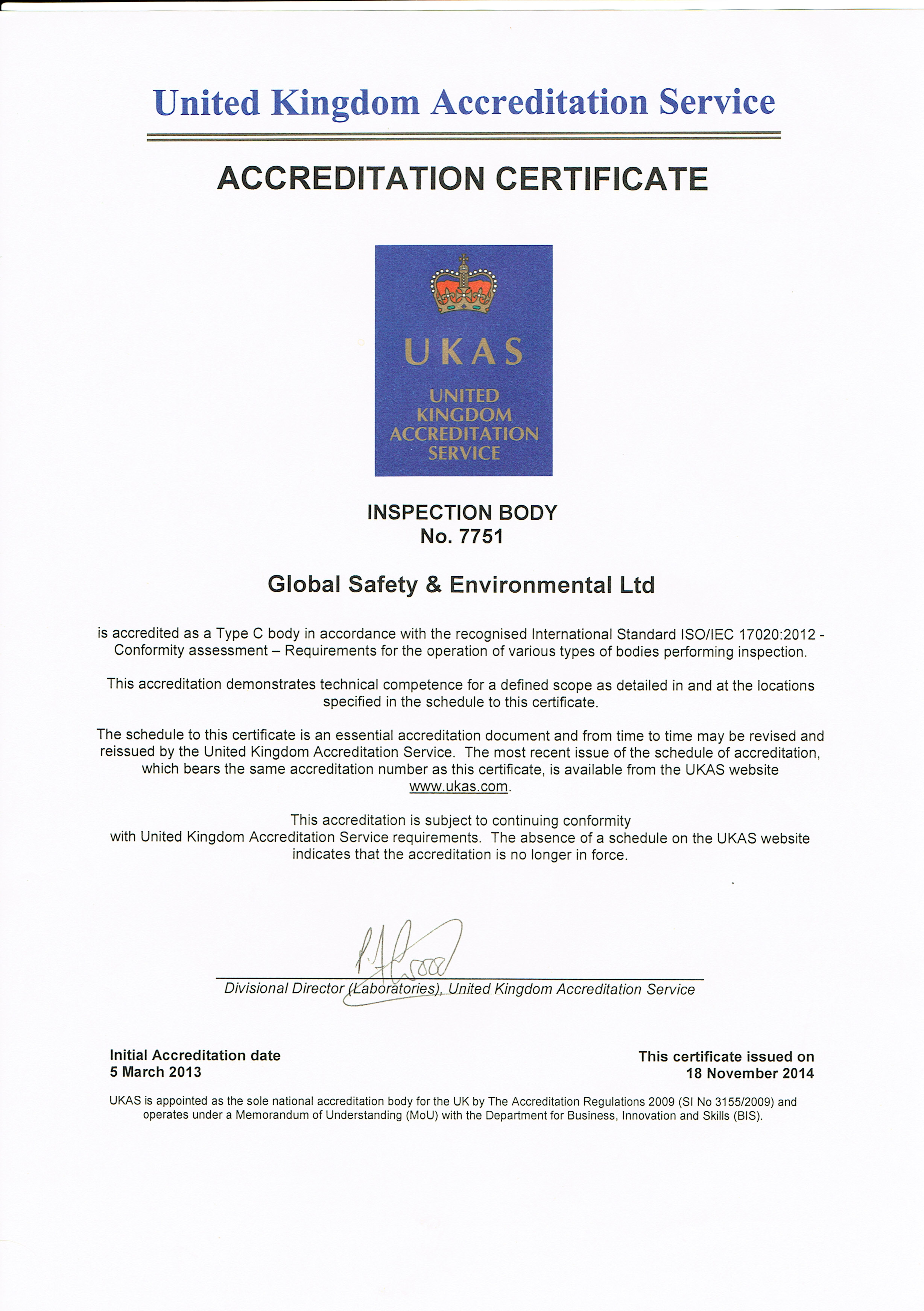 Ukas accreditation for asbestos inspection global environmental click to download our ukas certificate and schedule 1betcityfo Gallery